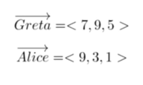 Two user length vectors