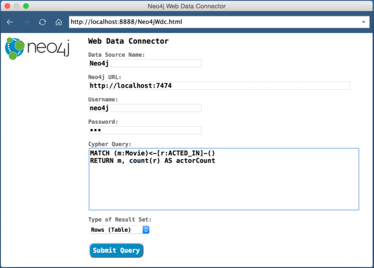 The Neo4j-Tableau Web Data Connector (WDC) web application