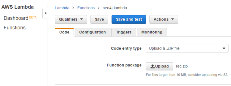 The AWS Lambda console with Neo4j