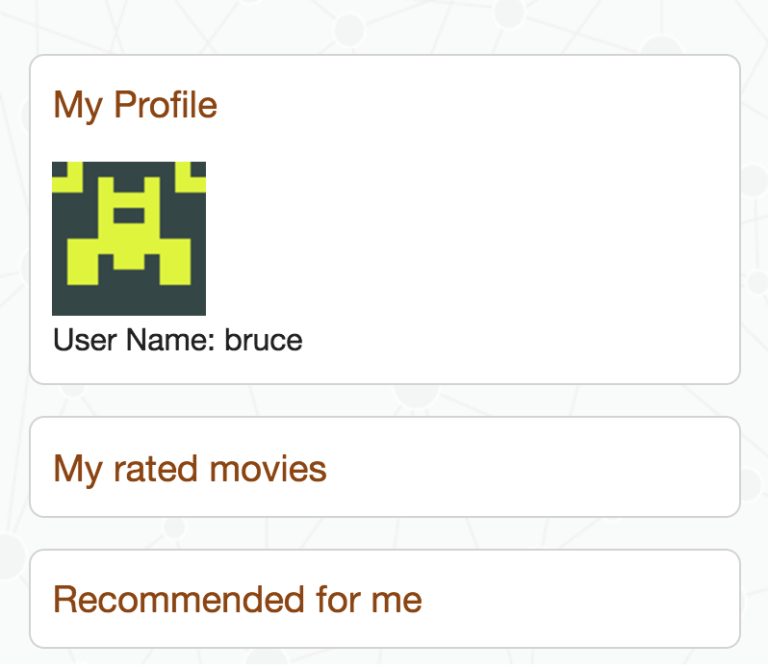 An empty user profile in the Neo4j Movies App
