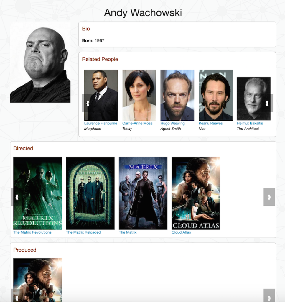 Person detail page in the Neo4j Flask movies template app