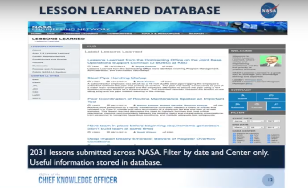 NASA's Lessons Learned Database