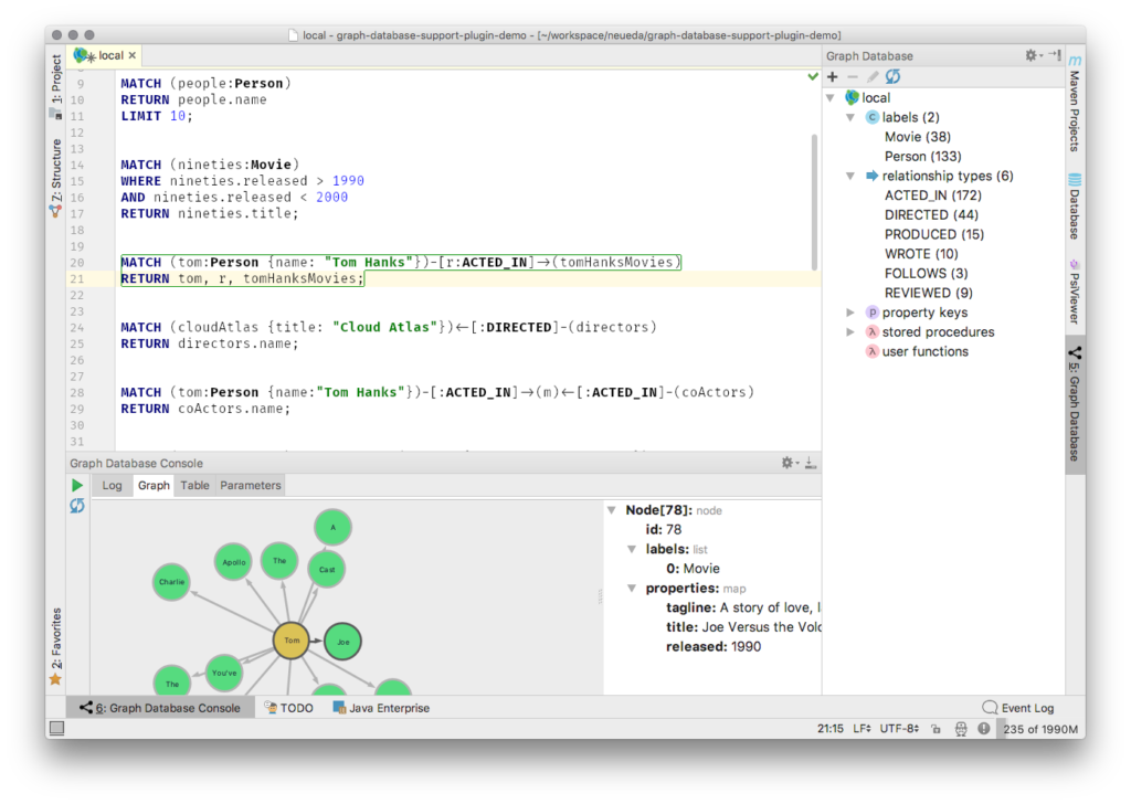 Graph database support plugin for JetBrains IDE