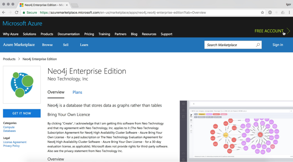 Learn more about finding Neo4j in the Microsoft Azure Marketplace & deploying it to the public cloud