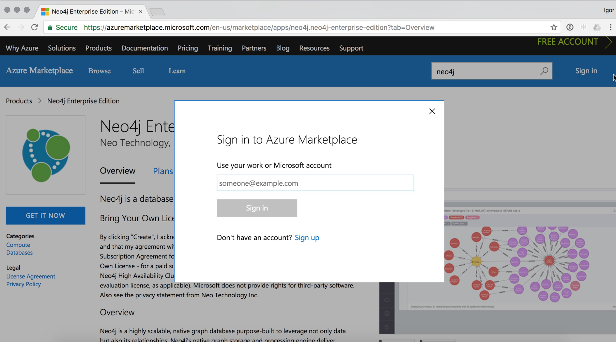 the azure marketplace account sign up page - Account Technology