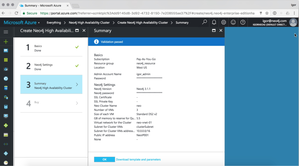 Neo4j automatic validation on Microsoft Azure
