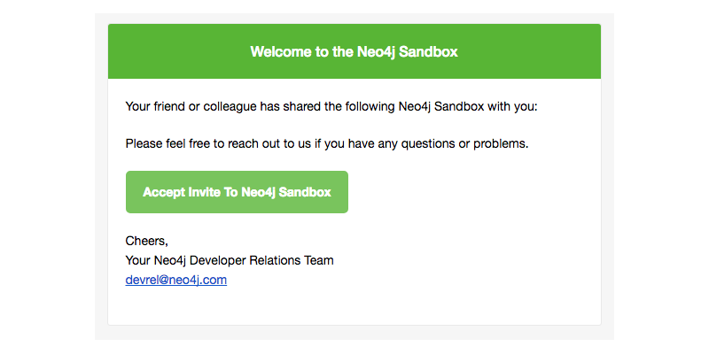 Neo4j Sandbox sharing invitation via email