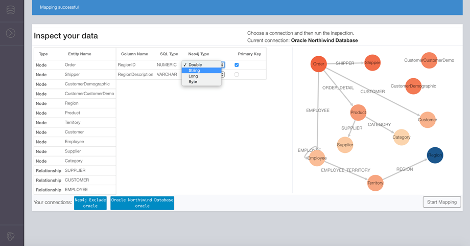 The Neo4j ETL visual editor