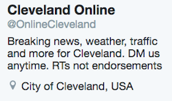 "The ""Cleveland Online"" Twitter handle sharing fake news"