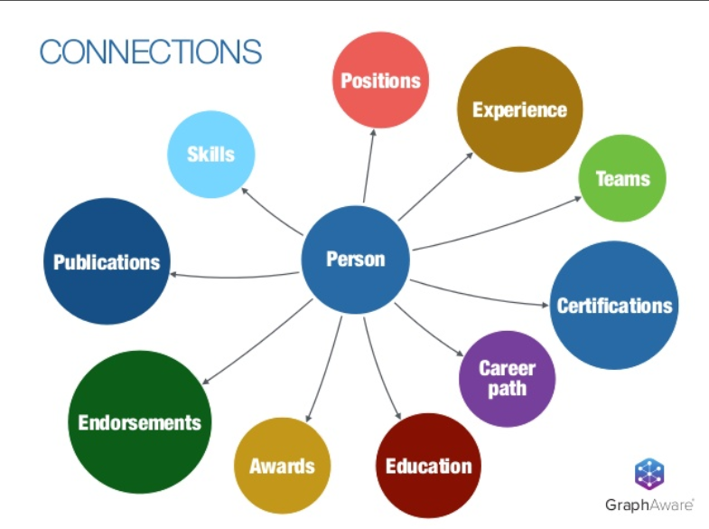 A graph of a person's connections in a company