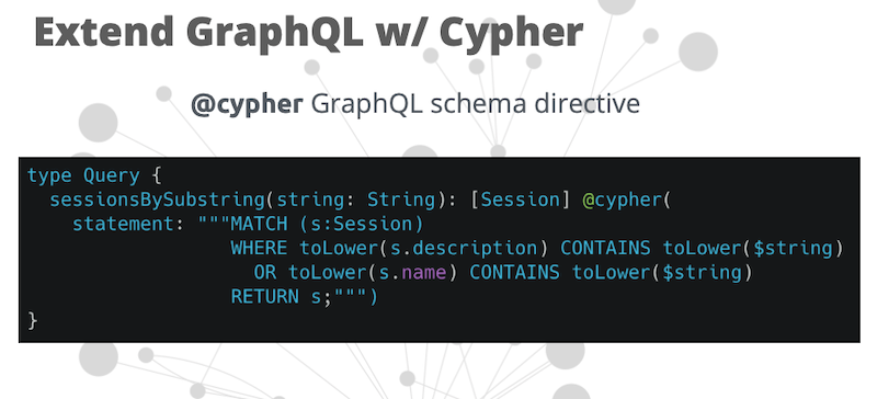 extend graphql with cypher | Neo4j