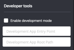 Developer Tools window with Enable development mode checkbox and fields for Entry Point and Root Path