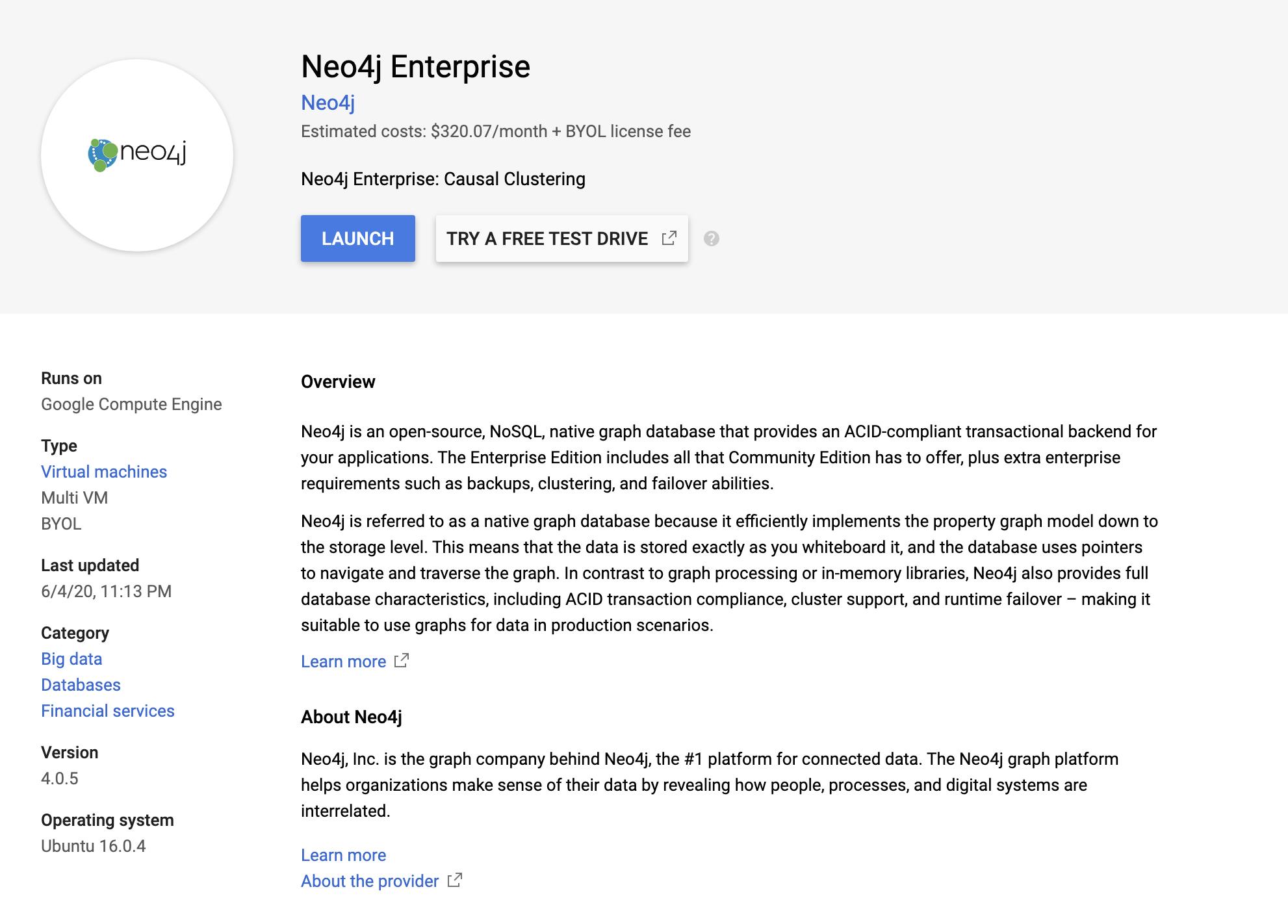 Neo4j on GCP Marketplace - Neo4j Graph Database Platform