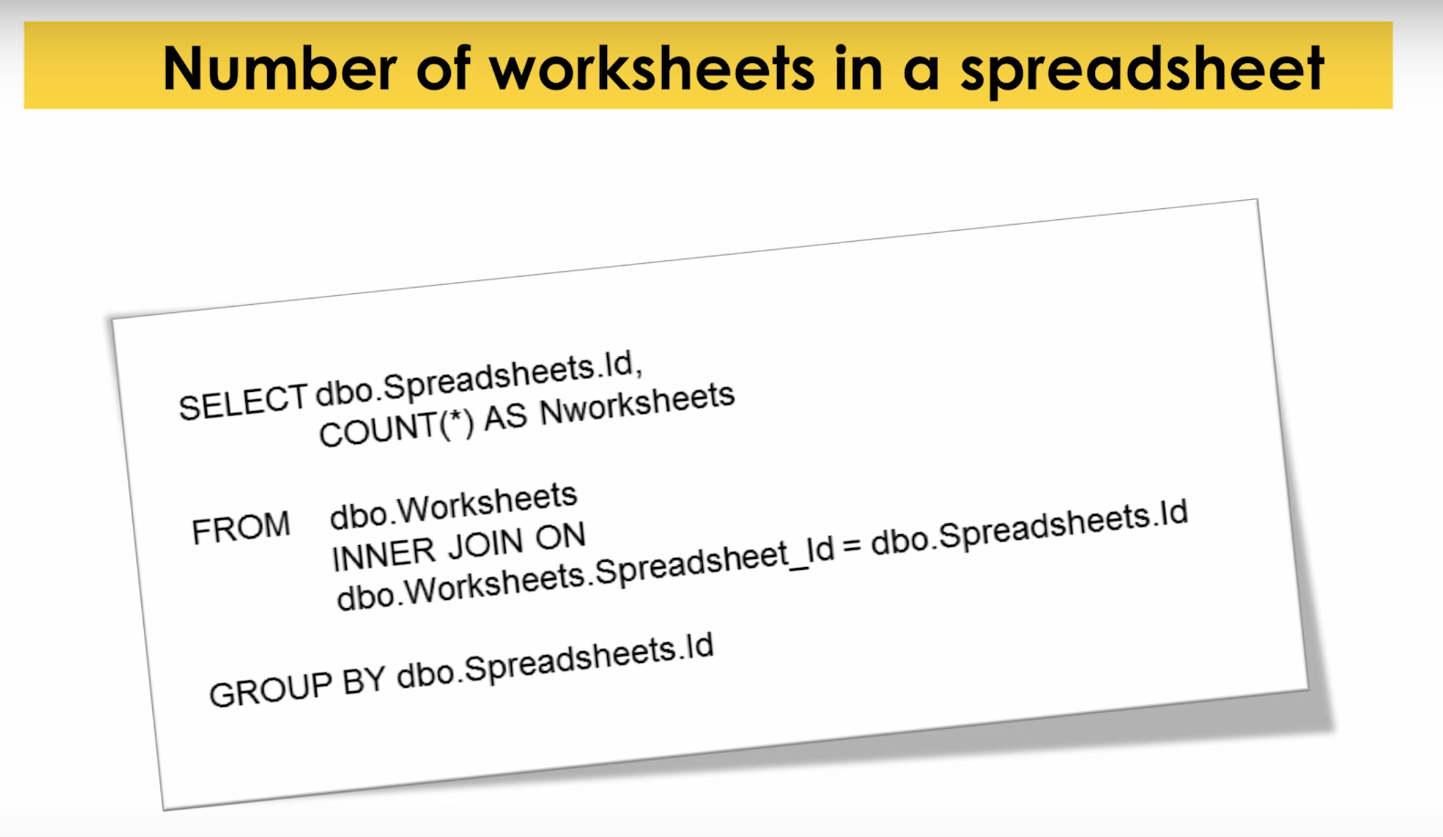 An SQL Query for the Number of Worksheets in a Spreadsheet