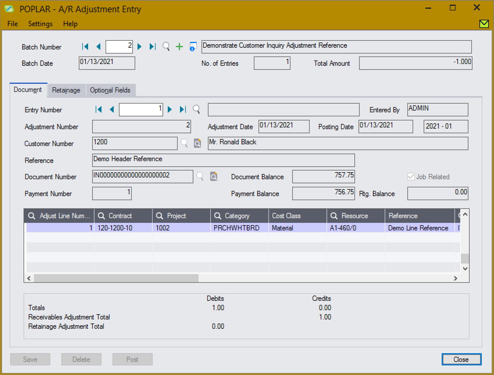 Screenshot of A/R Adjustment Entry