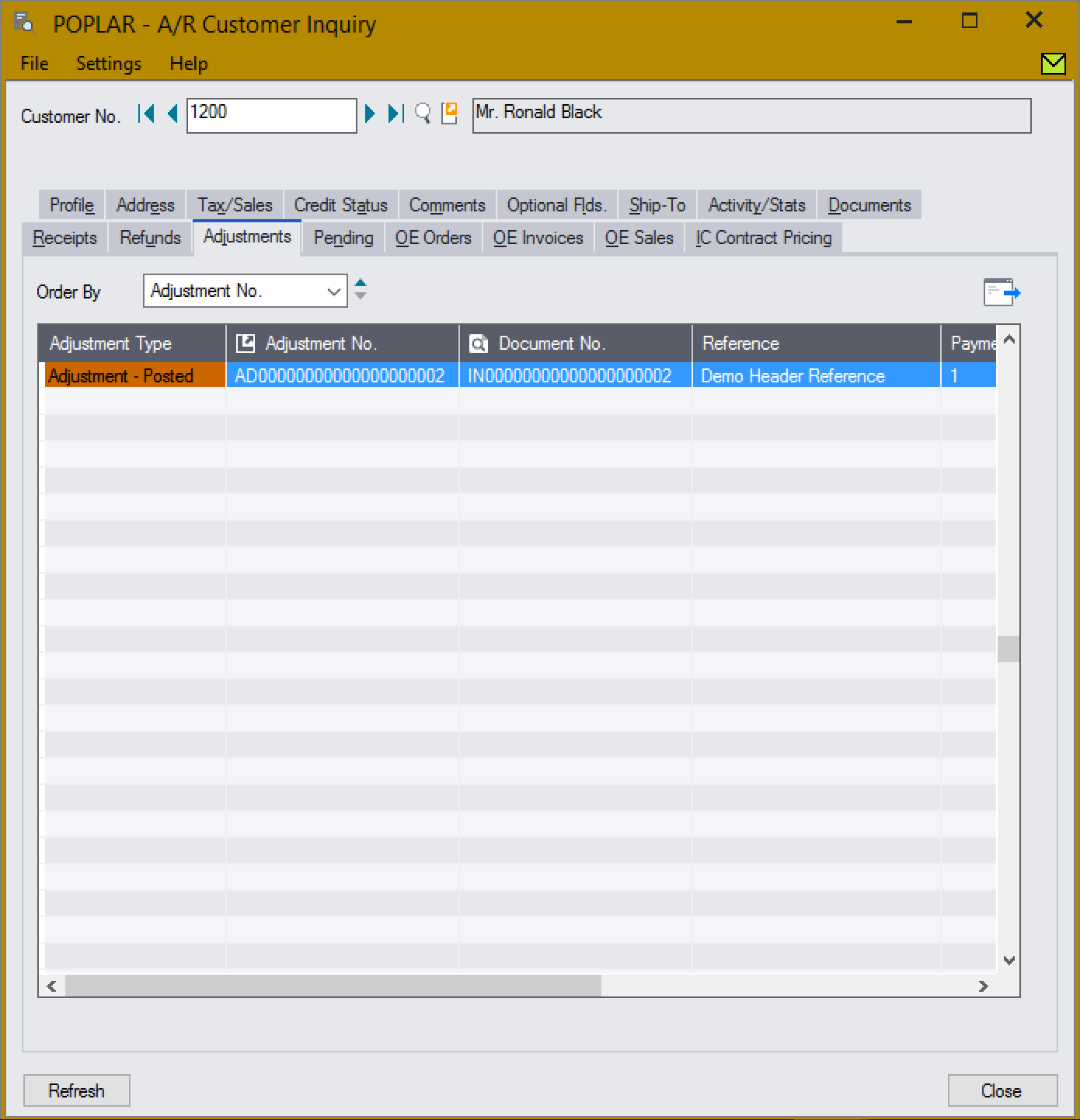Screenshot of Customer Inquiry screen