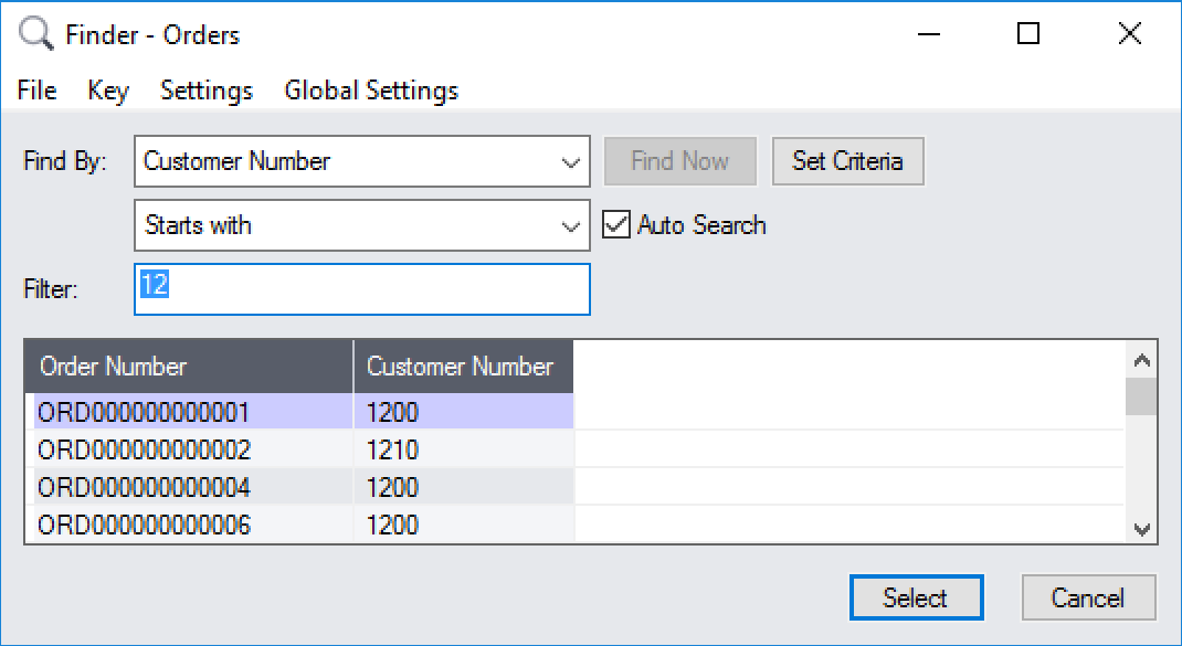 A custom finder is used to select from valid order numbers.