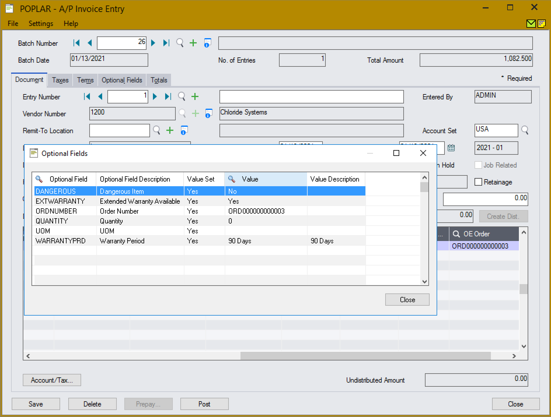 The optional field is set automatically as the values in the column change.