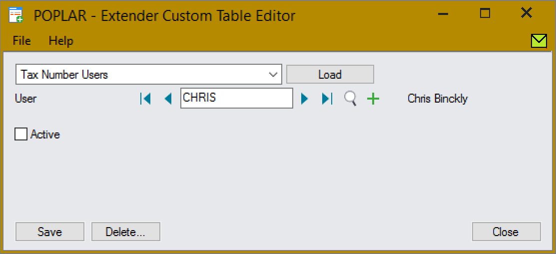 The user CHRIS isn't active and can't edit A/P Vendor Tax Numbers.