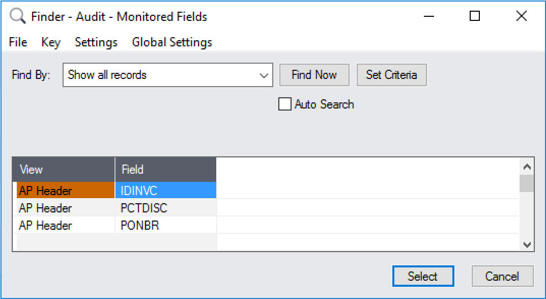 Monitor the IDINVC, PONBR, DISCPCT fields on A/P Invoice headers.