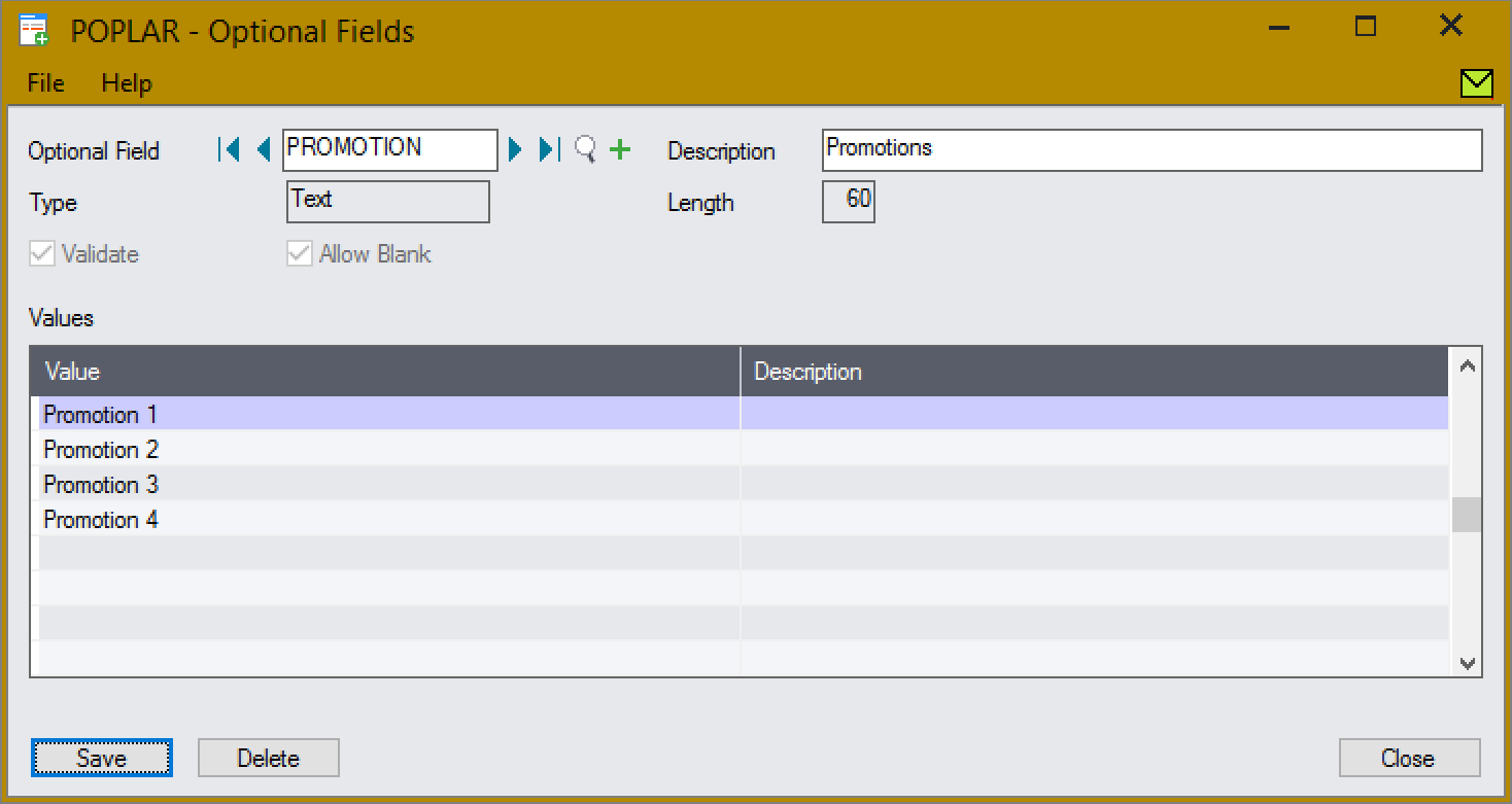 Create the Promotion optional field with validation.