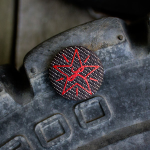 Red Star / Black Denim Cloth Pin thumb
