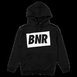 'BNR' Hoodie - Black w/ White thumb