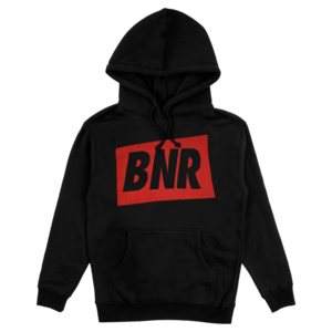 'BNR' HOODIE - BLACK W/RED thumb