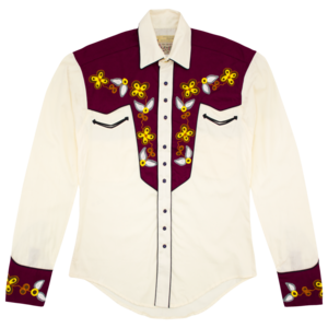John Denver Vintage 2 Tone Embroidered Western Shirt (Creme/Maroon) thumb
