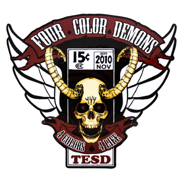 Four color demons badge logo sticker
