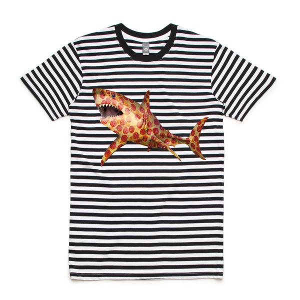 Pizza shark 5028 staple stripe tee black white 2