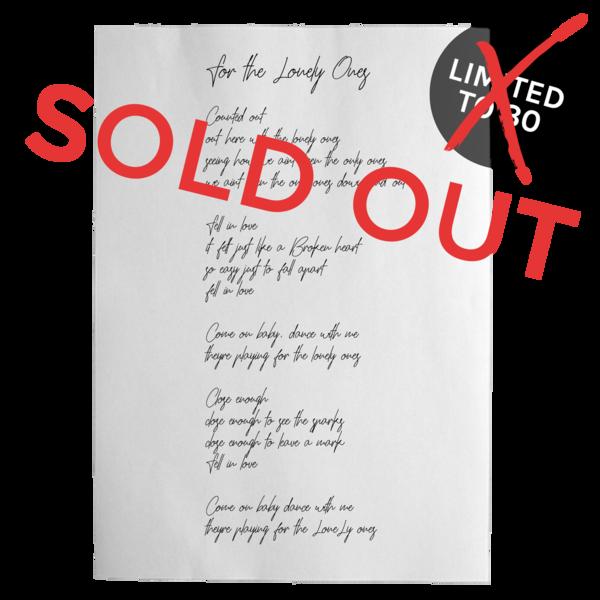 Luc handwrittenlyricpage soldout