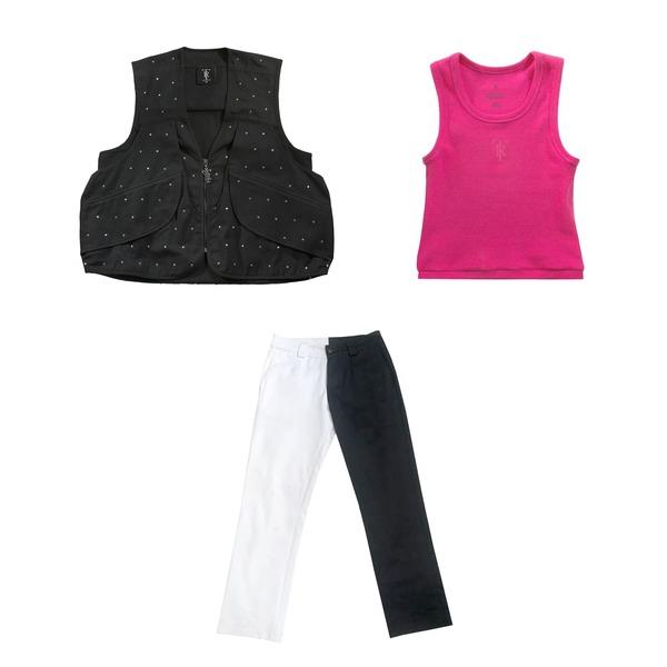 Diamante black vest + 50/50 Pant + Pink Crop Wife Protector Bundle thumb