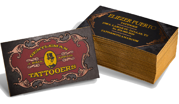 Thick Silk Business Cards with Spot UV and Die-Cut