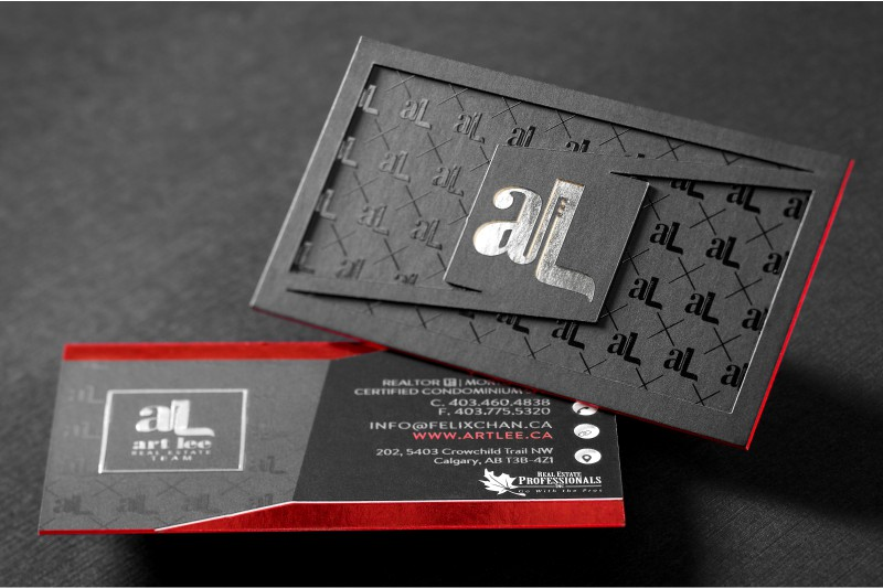 Die cut business cards give shape to your first impression ultra thick silk business cards with custom die cut spot uv silver foil red foil and red colored edges reheart