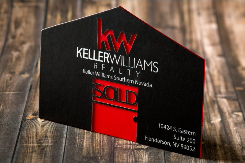 Die cut business cards give shape to your first impression thick silk business card with custom shape die cut and red colored edges reheart Gallery