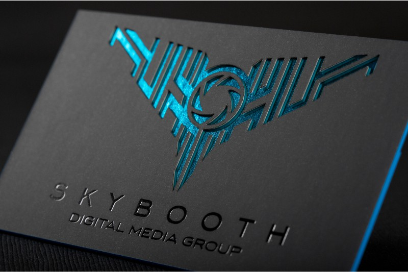 Die cut business cards give shape to your first impression ultra thick suede business cards with custom die cut blue black foil and blue colored edges reheart Gallery