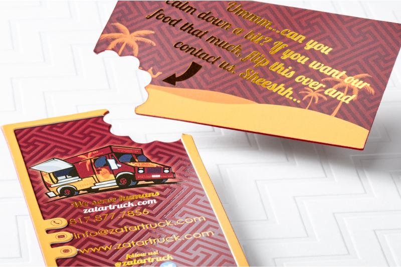 thick silk business card with die cut spot uv foil and colored edges