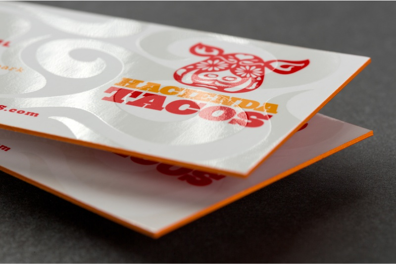 thick silk business card with spot uv and orange colored edges - Colored Edge Business Cards