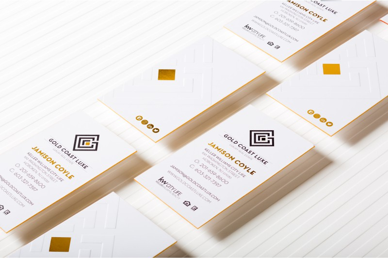 Embossed business cards raise the stakes with embossed silkcards letterpress business card with debossing thick silk business cards with embossing gold foil and gold colored edges colourmoves