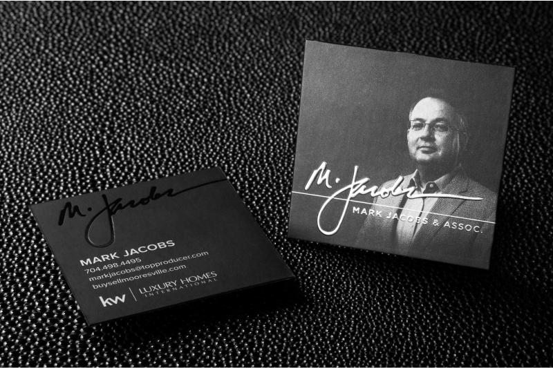 Square business cards incredible inside the box square business cold foil silk business card with black foil square cut debossing and colored edges reheart Images