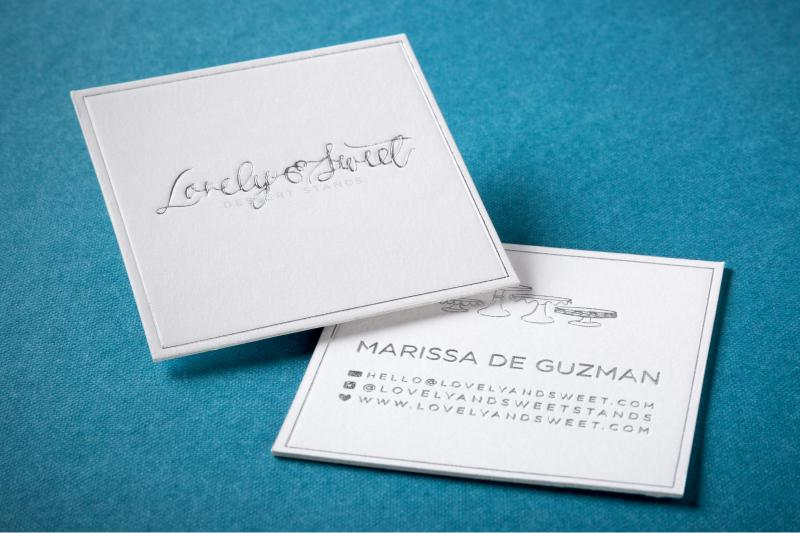 letterpress card with foil and square cut thick silk business