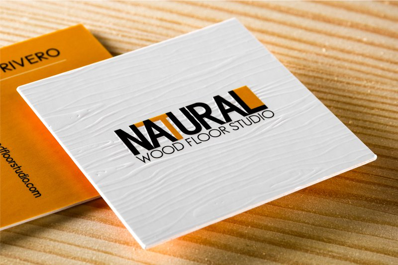 thick silk business card with embossing and square cut