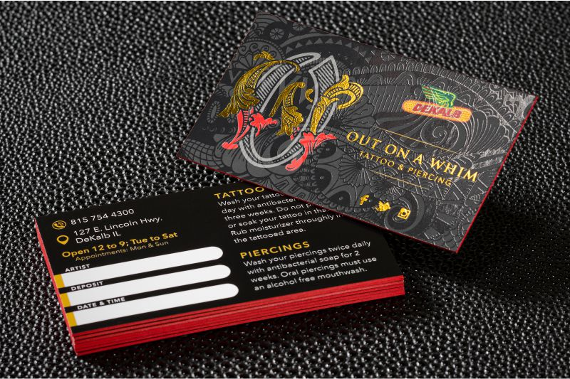 Kick ass tattoo business cards get yours today silkcards thick silk business card with spot uv gold foil and red colored edges with non laminated back colourmoves