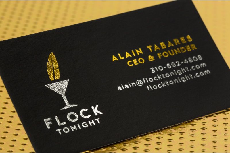die cut foil spot uv and colored edges onyx suede business cards with gold and silver foils