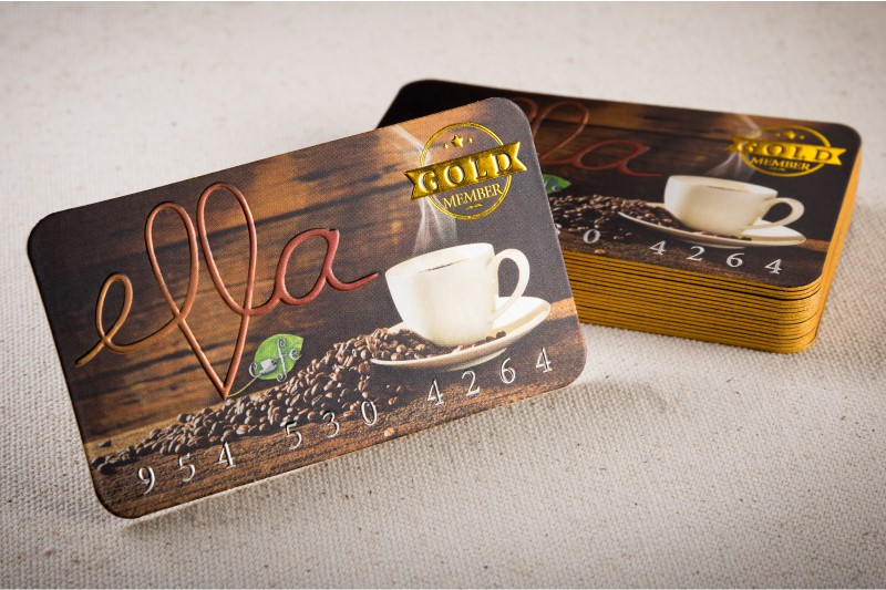 thick cold foil silk laminated business card with gold foil embossing and gold colored edges