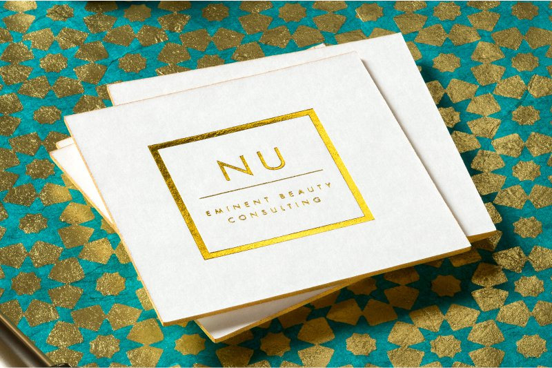Gorgeous beauty salon business cards make your mark silkcards letterpress card with gold foil square die cut and gold colored edges reheart Choice Image