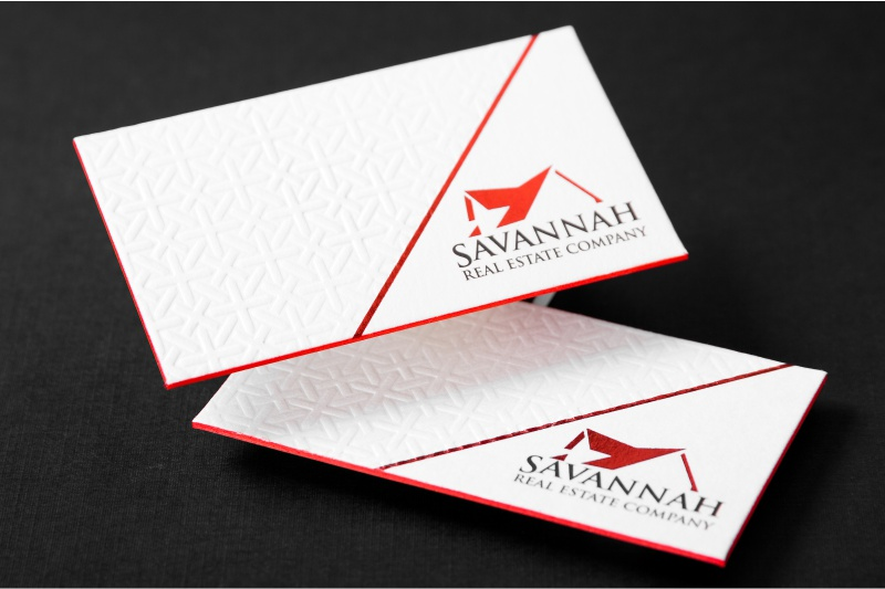 Realtor business cards for unforgettable first impressions letterpress card with debossing red foil and red colored edges thick silk business reheart Images