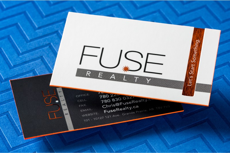 Realtor business cards for unforgettable first impressions thick silk business card with orange foil and orange colored edges reheart Images