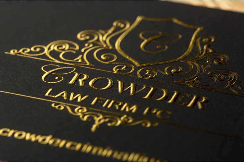thick silk business card with embossing and gold foil
